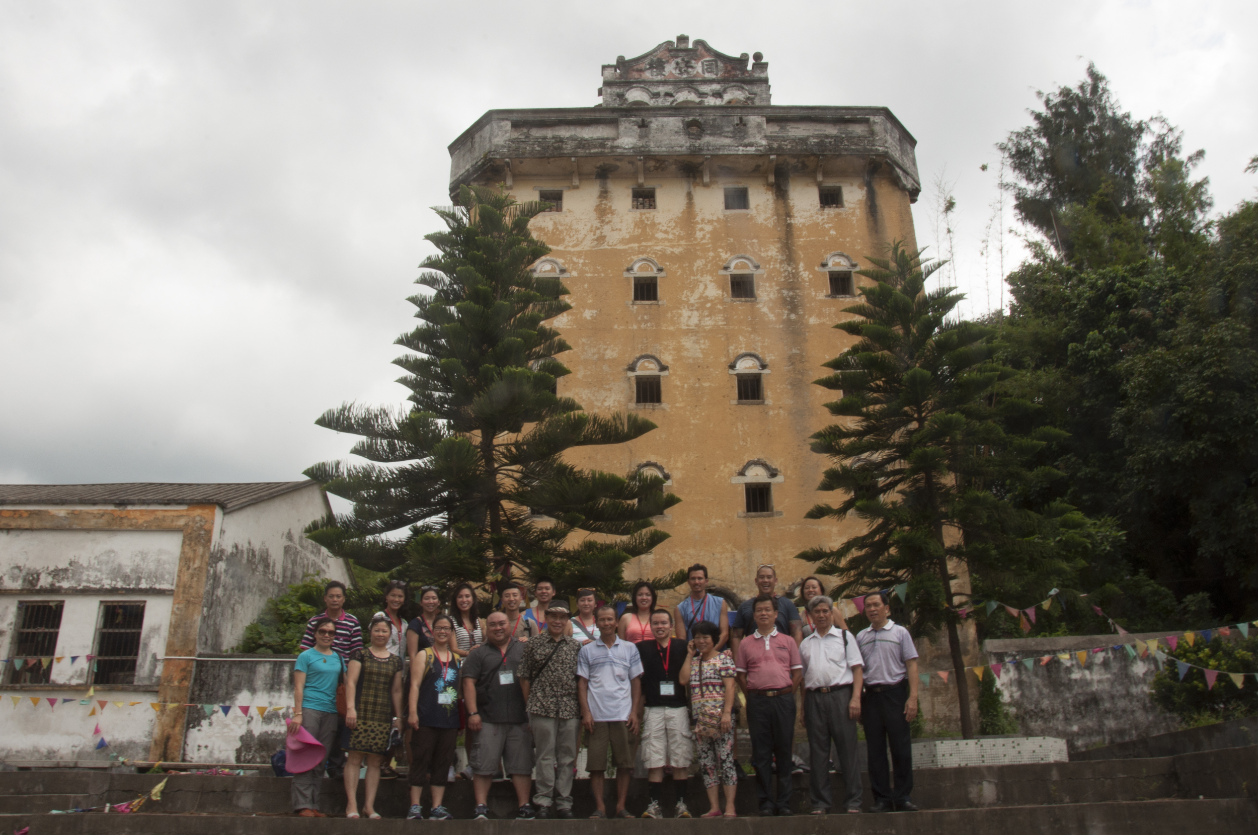 group picture in front of the village watchtower