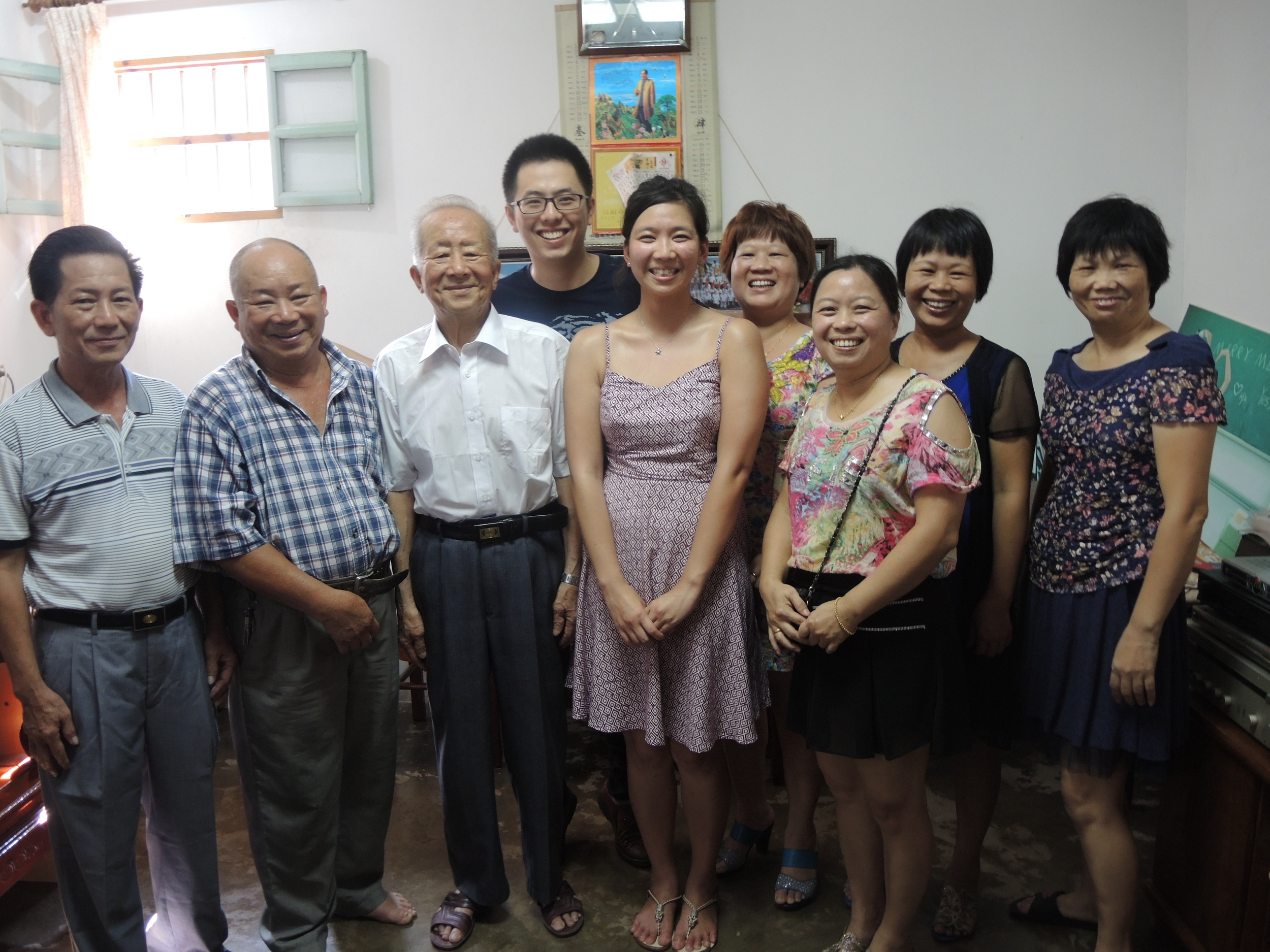 Family group photo inside third granduncle's home after some kung fu cha