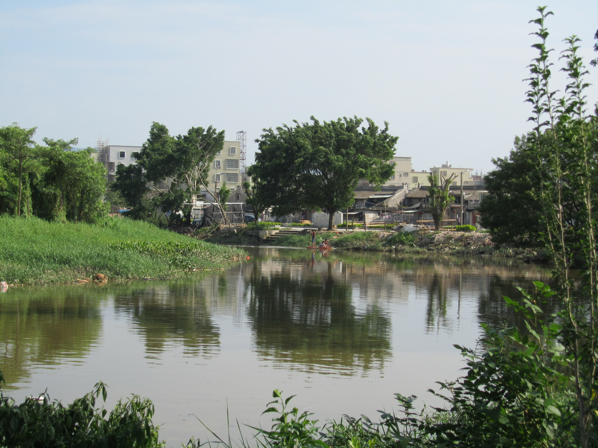 The river area that flowed through the village
