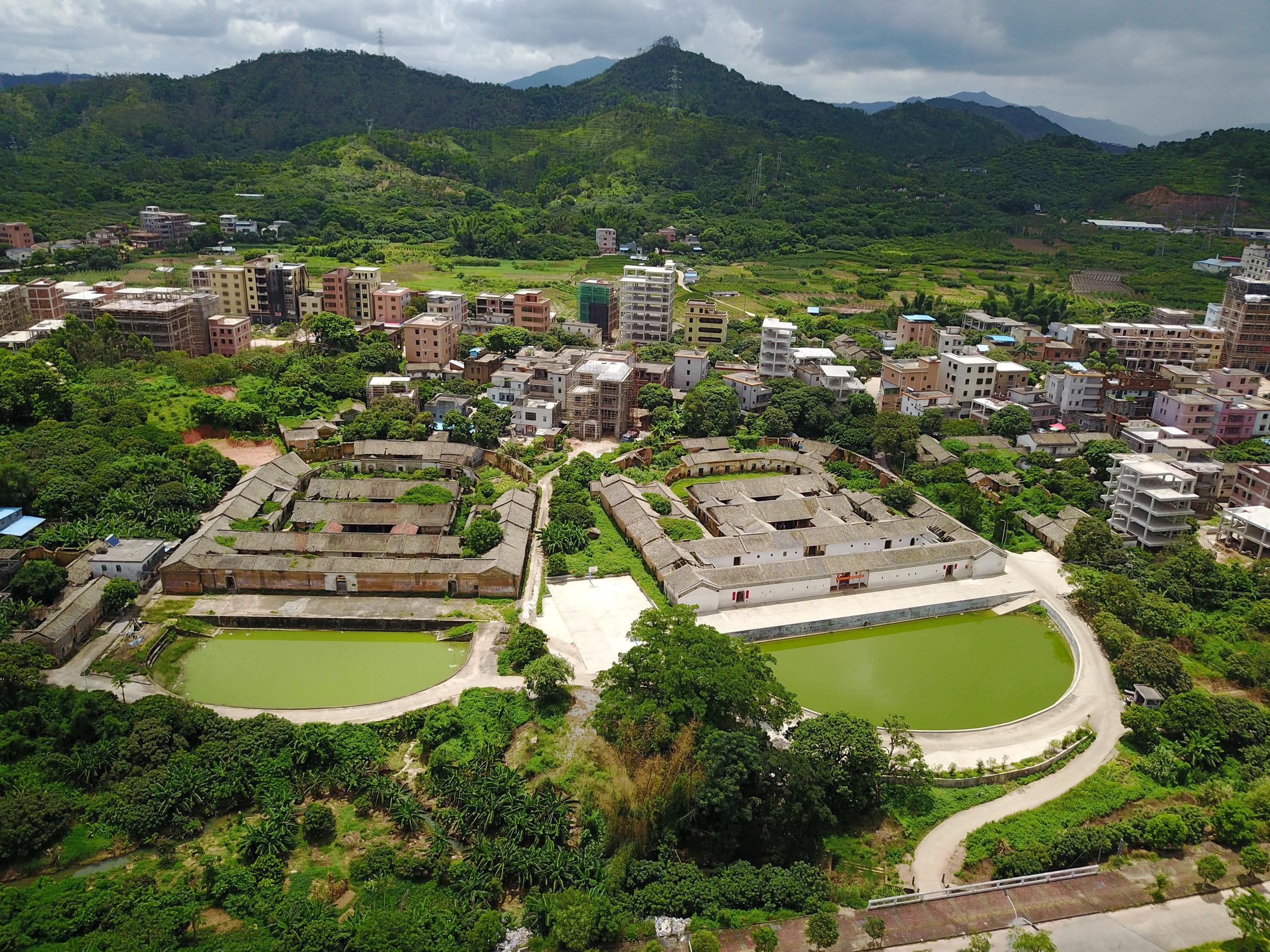 Aerial view of Wayne Yeh's Hakka village in Huiyang