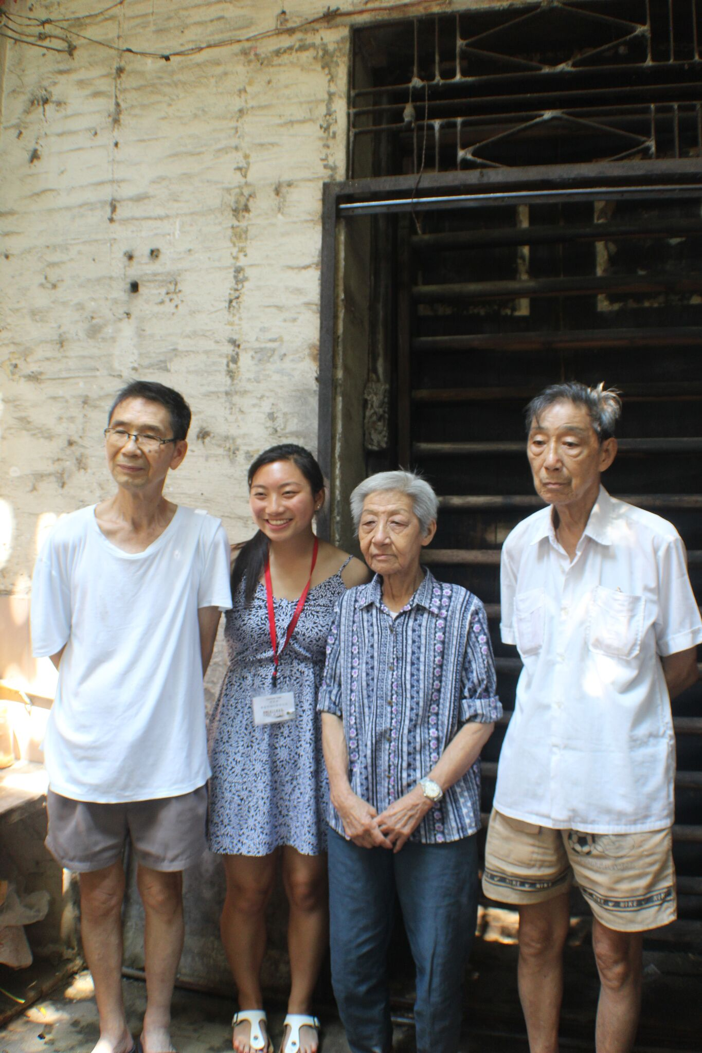 Corinne Tam with relatives at her paternal grandmother's house in Zhaoqing (Siuhing)