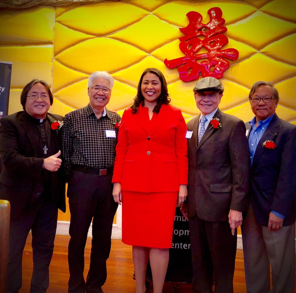 Left to Right: Rev. Norman Fong (Executive Director of CCDC and Roots 2018 Alum), Roots leader John Wong, San Francisco Mayor London Breed, Roots co-founder Al Cheng, Roots leader Walter Lim