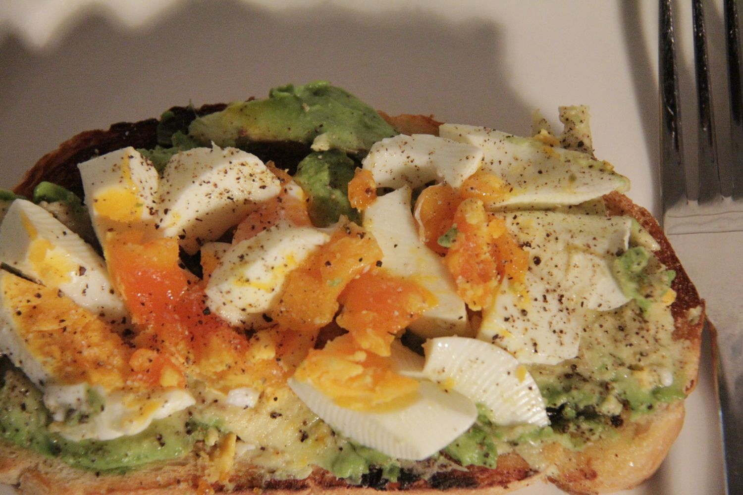 Boiled egg and avocado on toast
