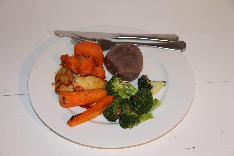 Roasted eye fillet with roast vegetables