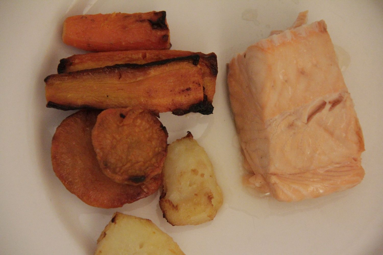 Oven baked salmon and roasted vegetables