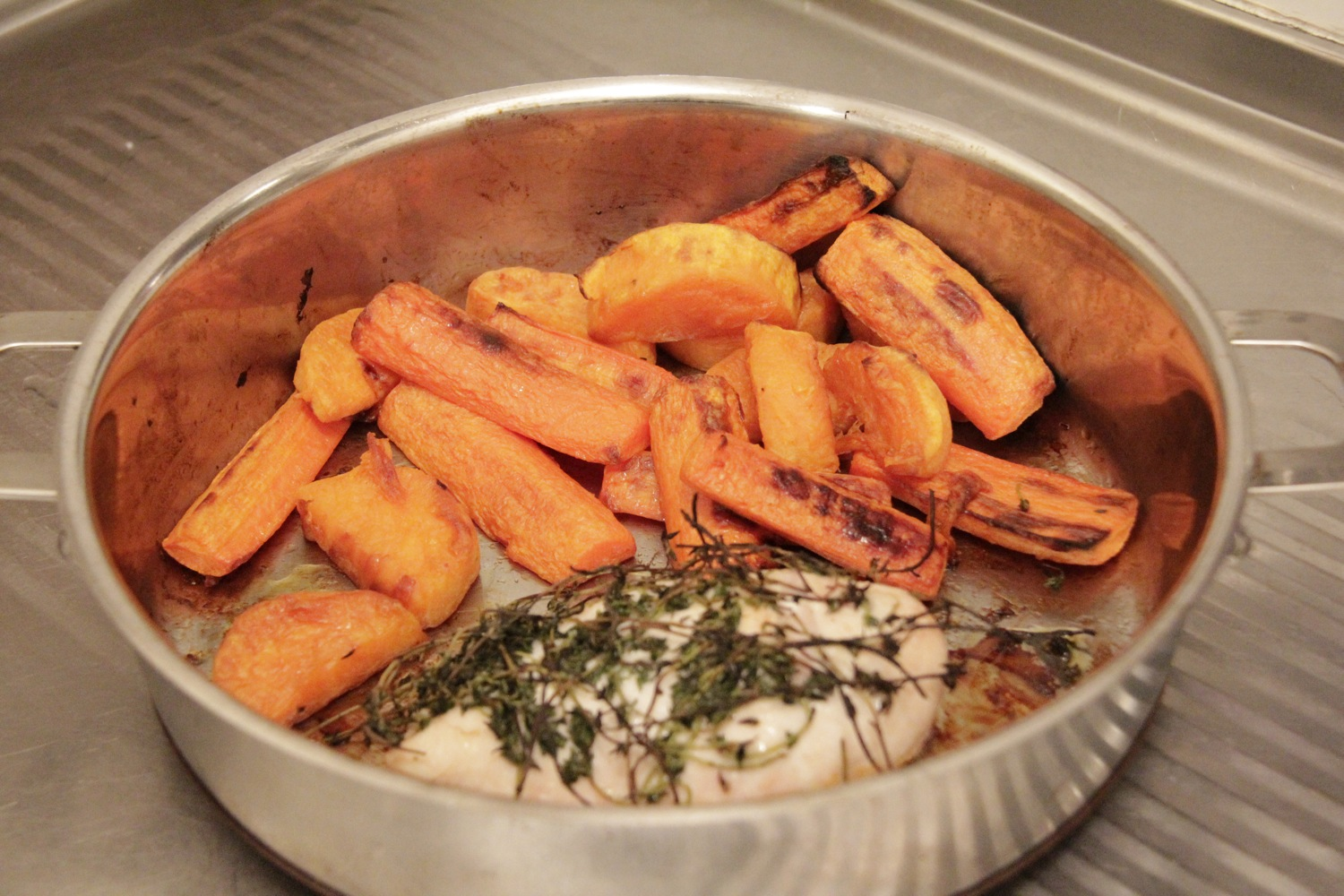 Recipe for one - roasted chicken breast with Thyme