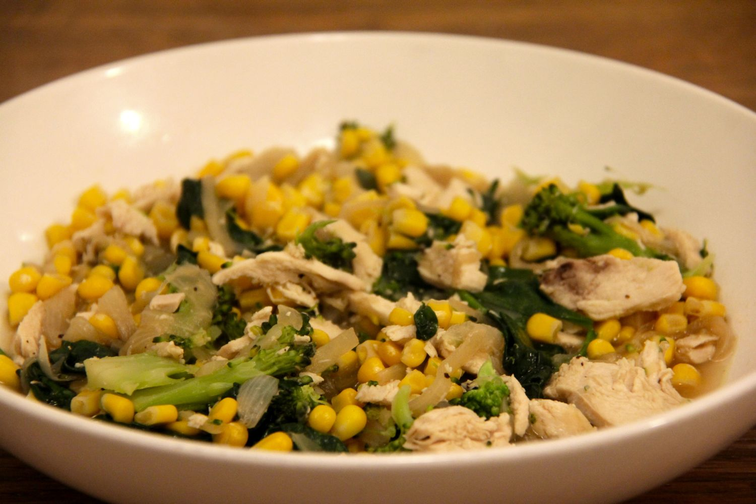 Recipe for one - chicken and corn soup with spinach and broccoli