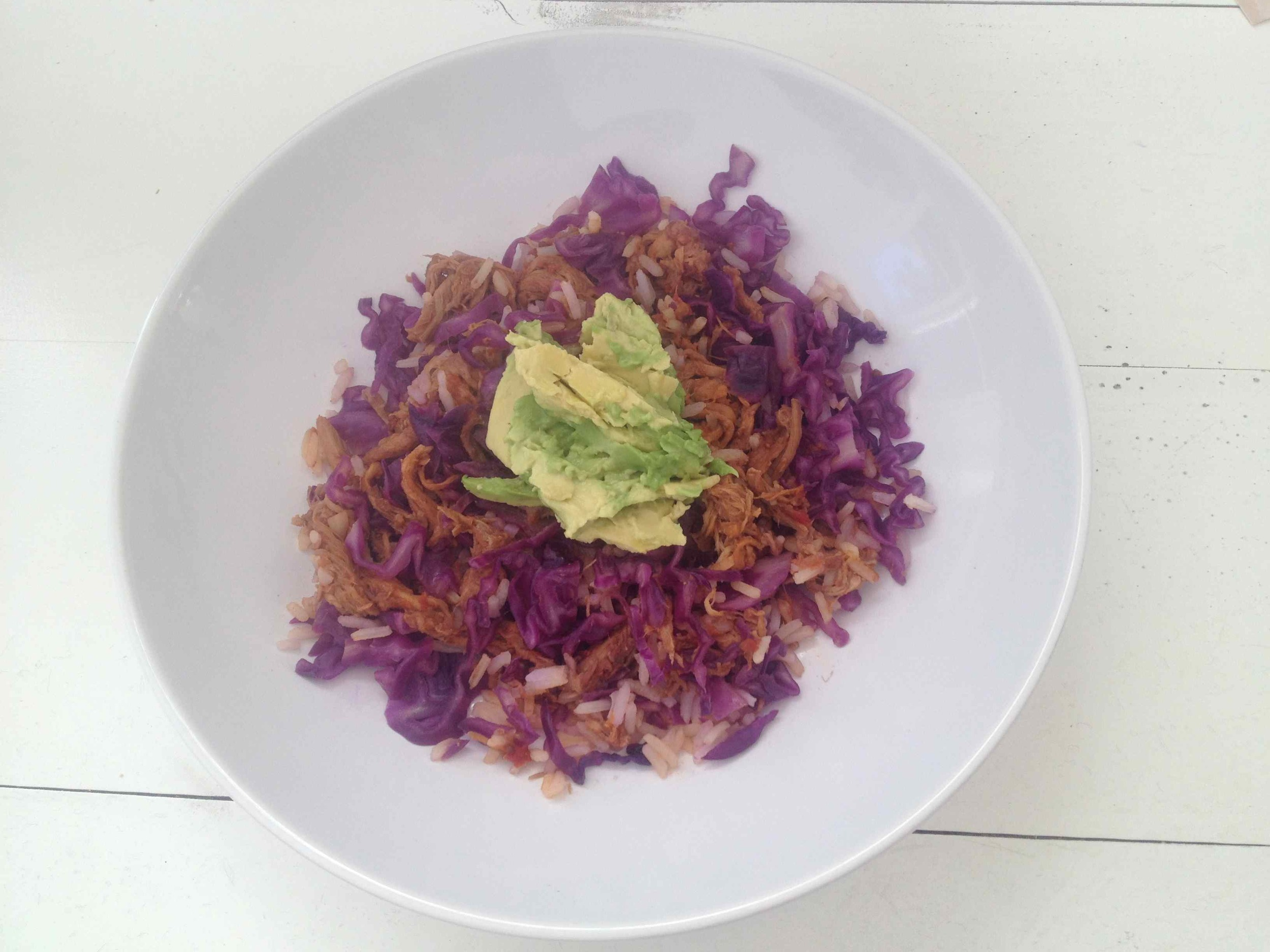 Wednesday | Feezer meal. Pulled Pork with BBQ sauce, served on rice with red cabbage & avocado