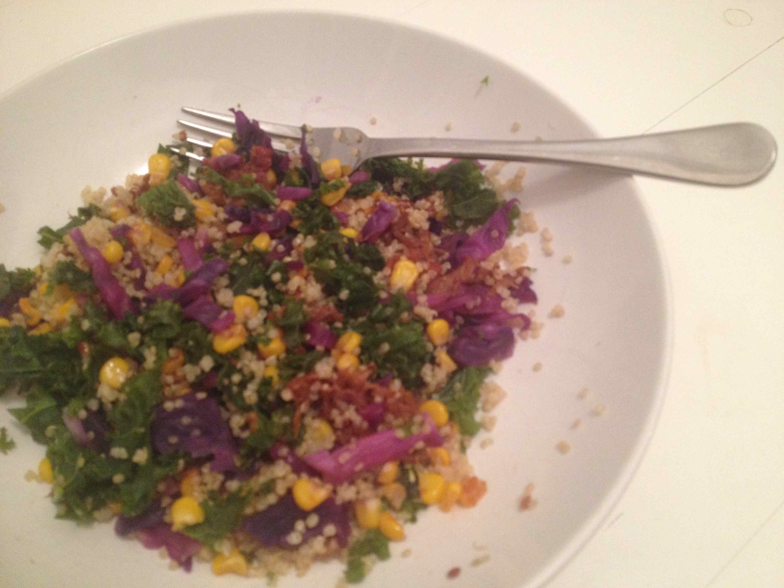 Friday | Pulled pork .... again! Reinvigorated and made colourful with kale, red cabbage and corn