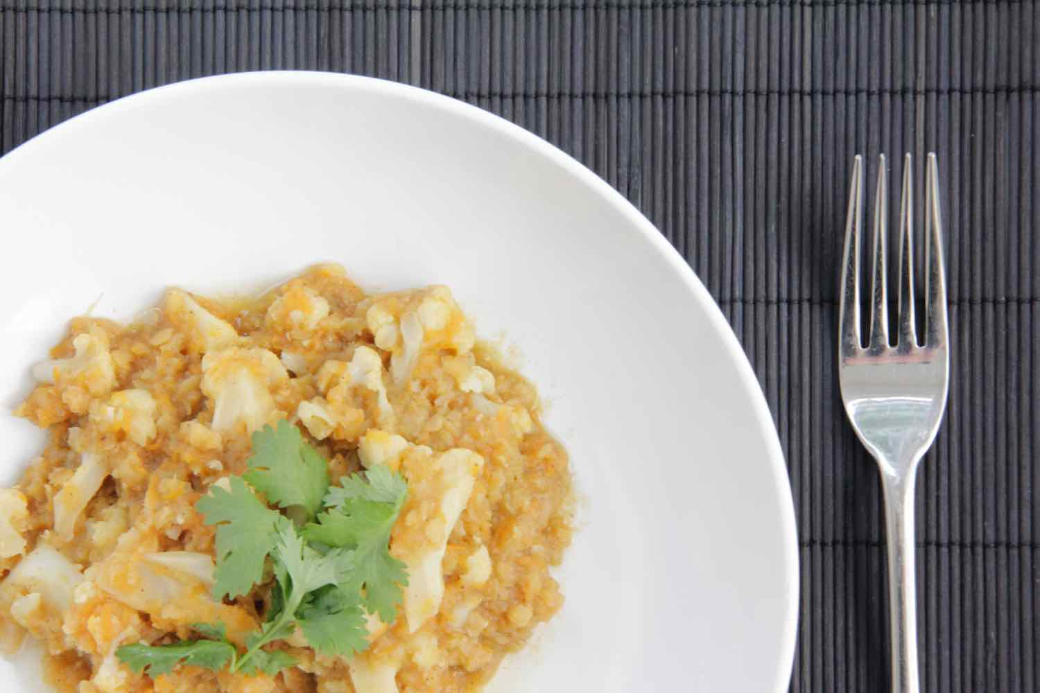 Mild vegetarian curry with red lentils