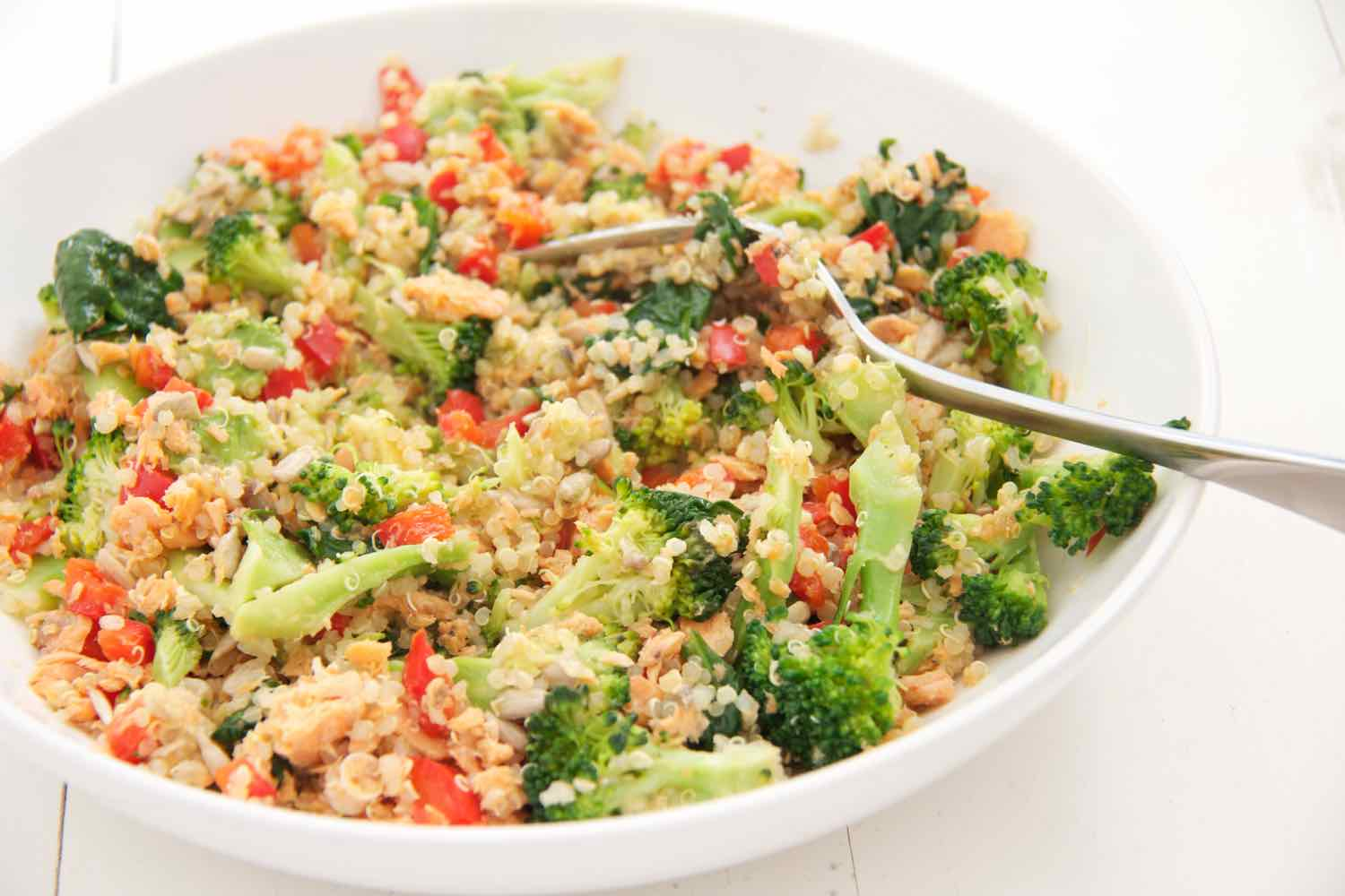 'Go-to' one pan salmon with quinoa and vegetables