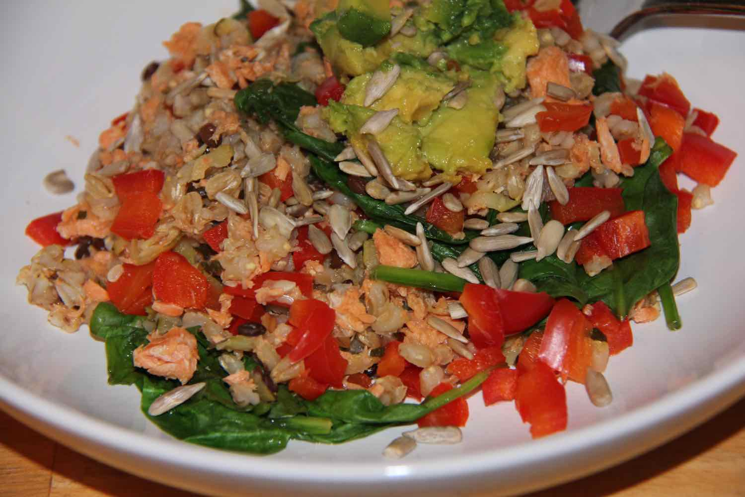 Tinned salmon turned into a quick, healthy dinner