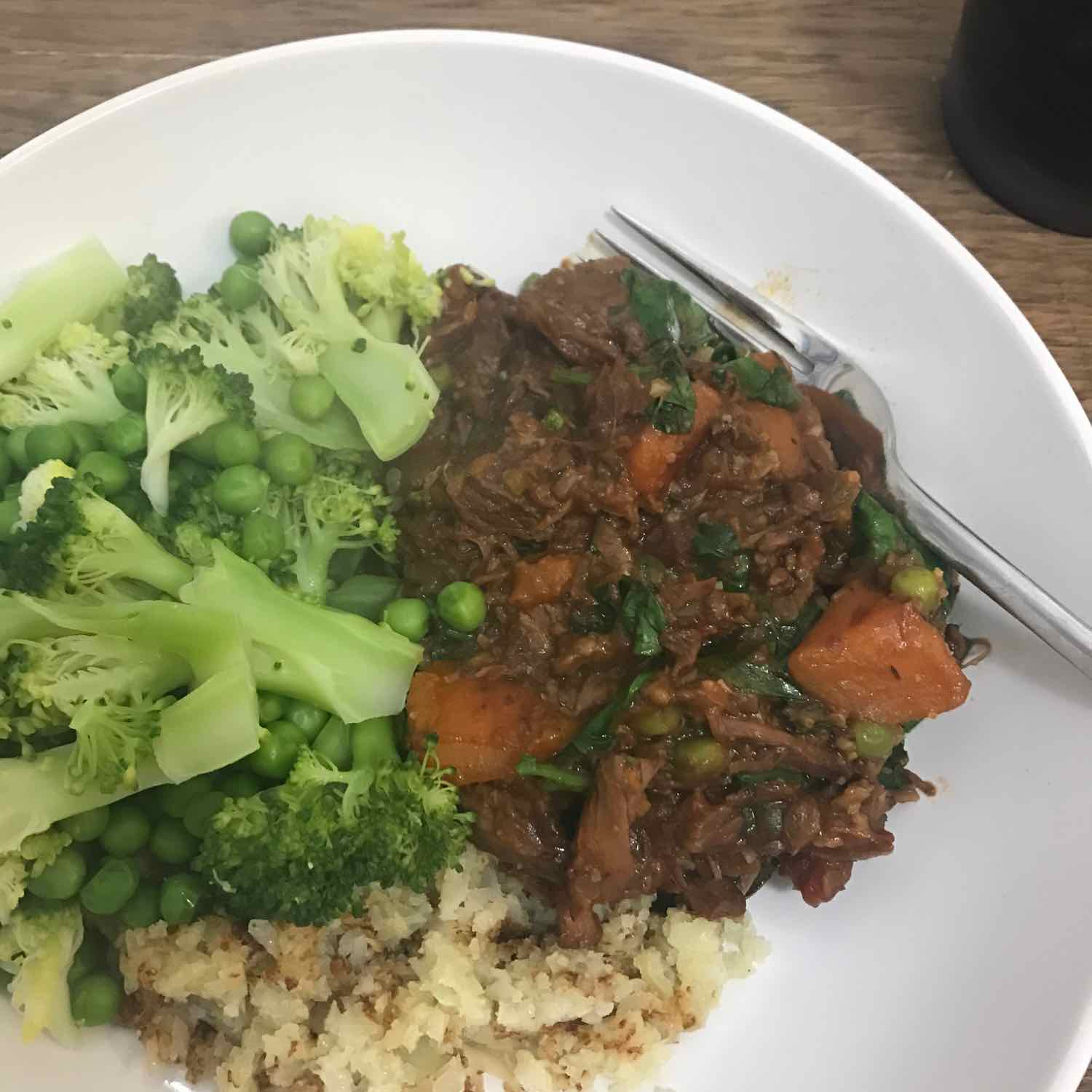 Yummy slow cooked beef stew for one
