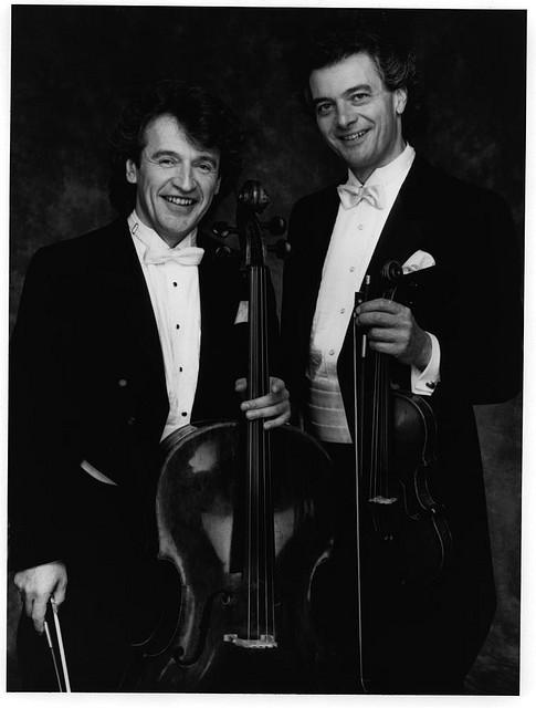 With violinist Victor Costanzi, 1986