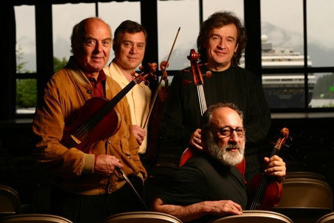 With violist Rainer Moog, violinists Philippe Djokic and Paul Rosenthal, Sitka