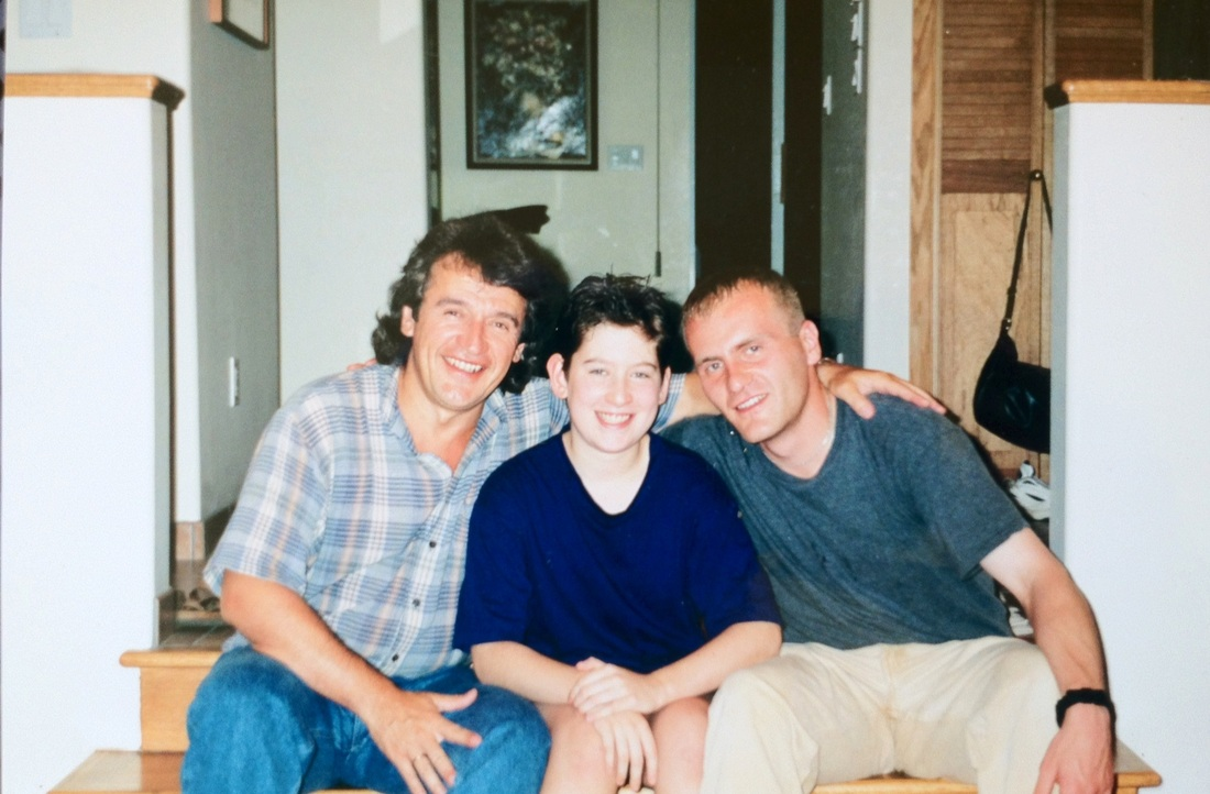 With sons Sasha and Dmitry