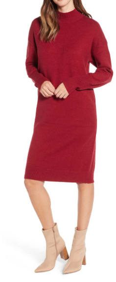 Red Mock Neck Sweater Dress