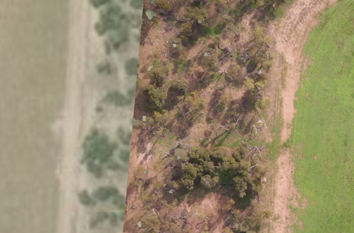 Google Earth image on the left – our high resolution image on the right