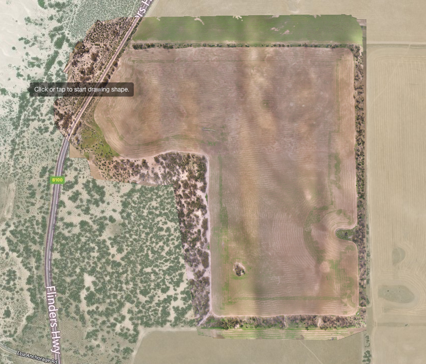 Our software was able to determine an accurate measurement of 79.8Ha for this paddock. Combining an historical yield and  current crop health image  for this paddock enables the farmer to determine the potential income for the year.