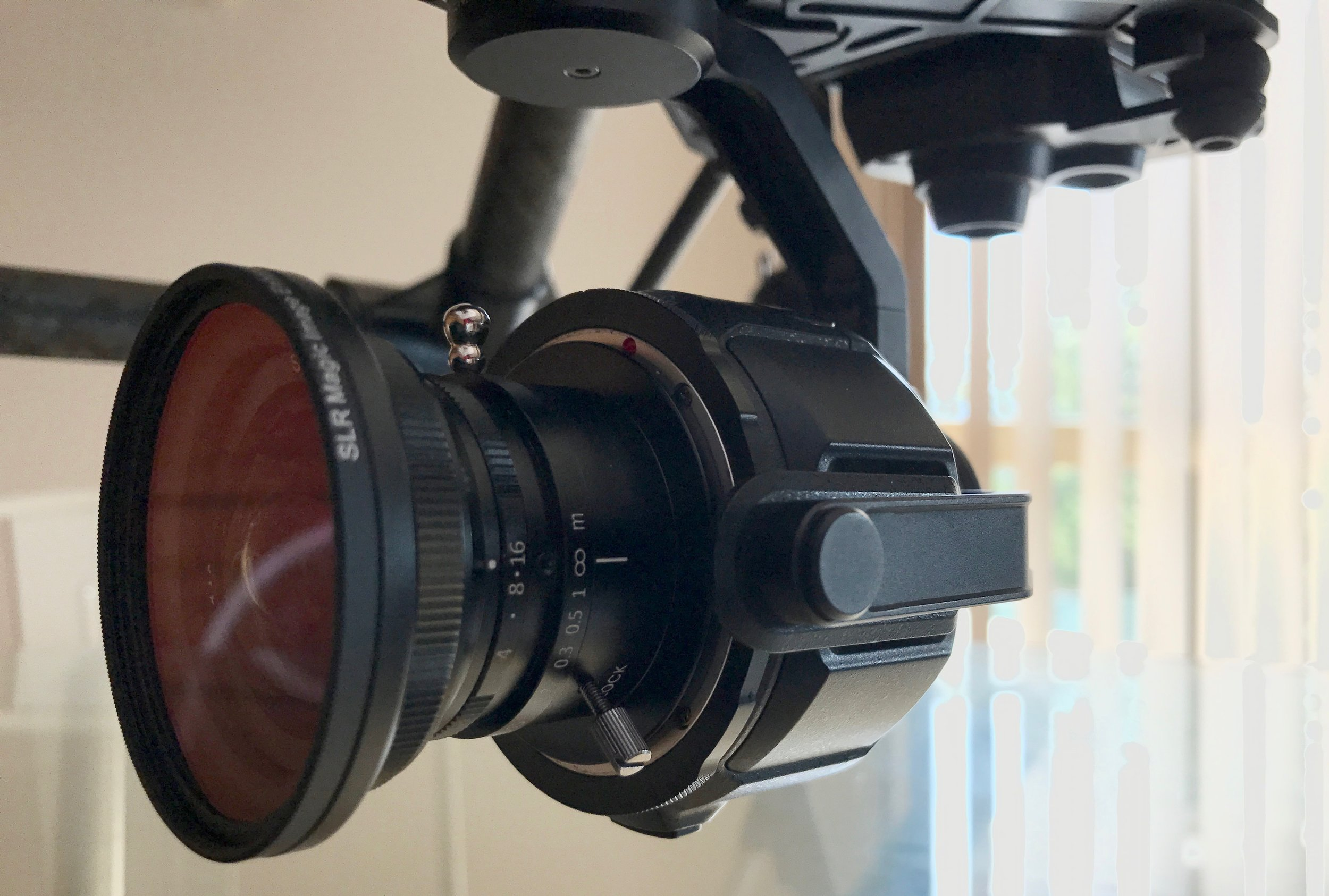SLR Magic 8mm Lens attached to the DJI X5 Camera with the 52mm Image Enhancer Filter