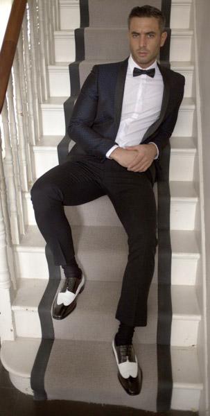 Men black and white dress shoes FWS-148