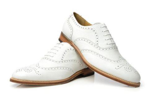 Men White Wingtip Brogue Shoes FWS-153