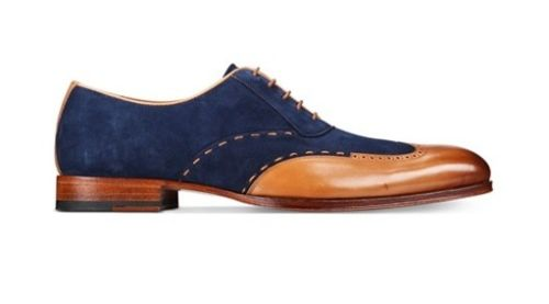 Mens Wingtip Tan and Navy blue suede
