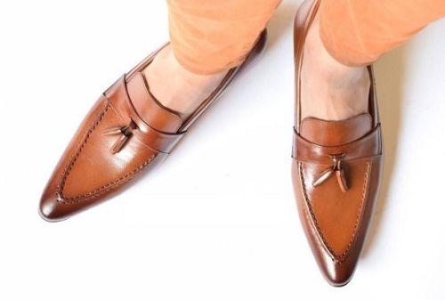 Men tan color leather Tassels moccasins