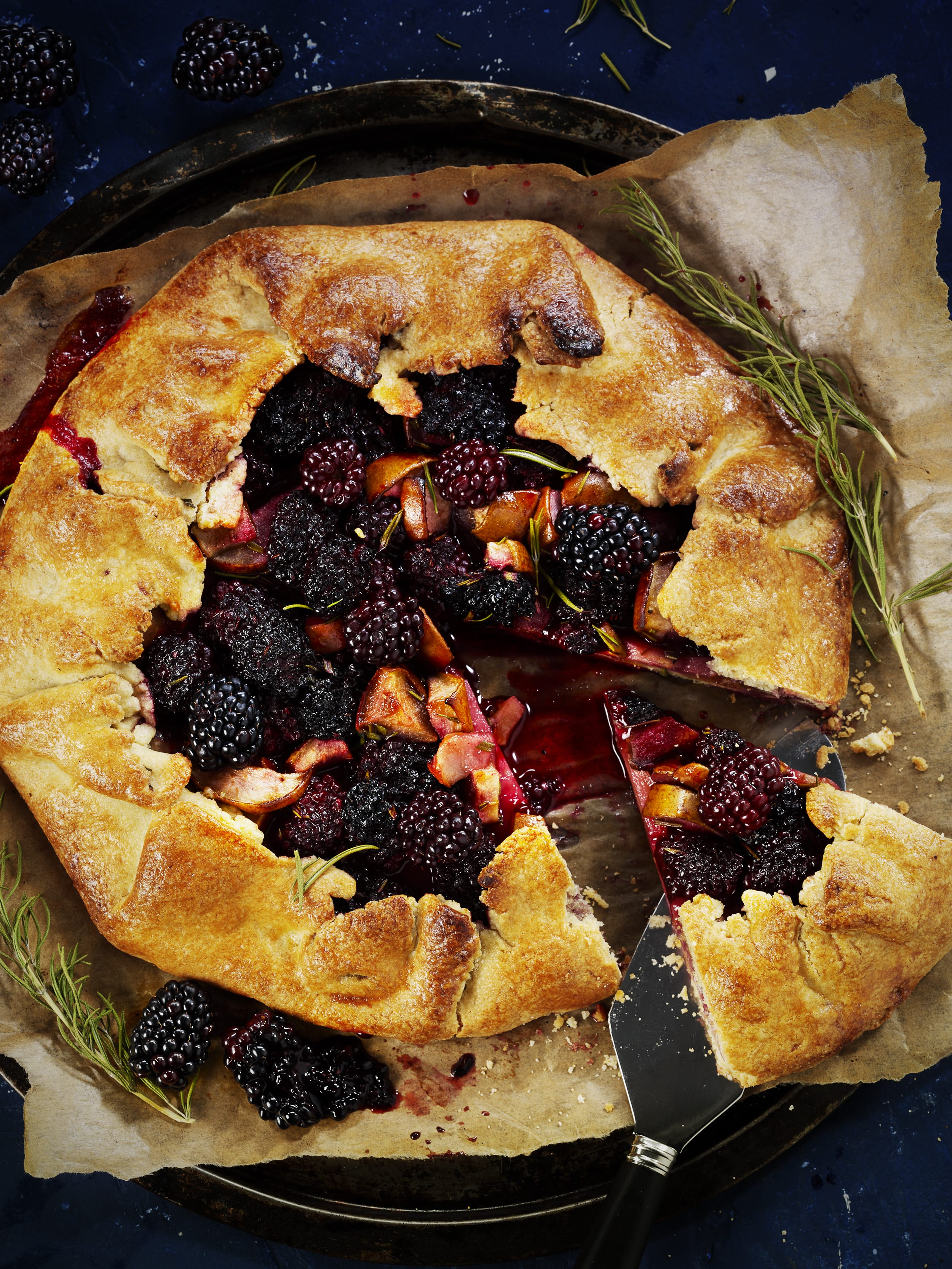 Blackberry, Pear and Rosemary Galette