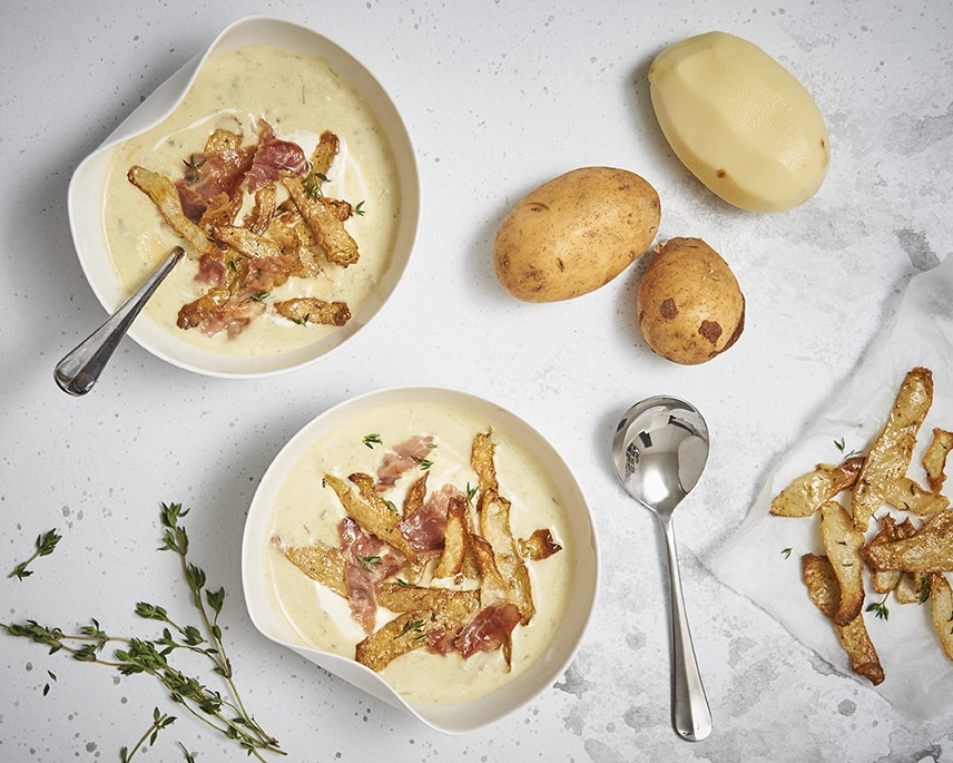 Potato and leek soup with crispy skins