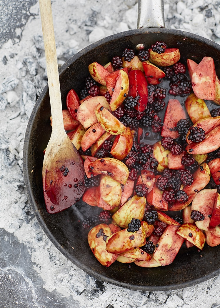 Blackberry and Apples on Coal