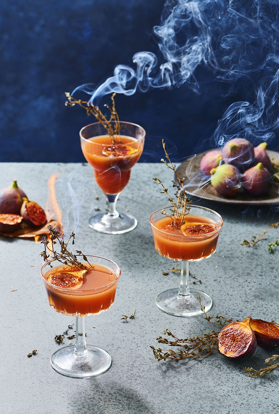 Smoking Fig Bourbon Smash with Grilled Figs