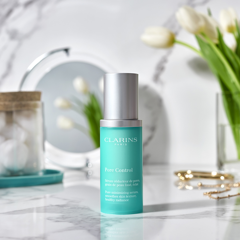 Beauty product styling for Clarins