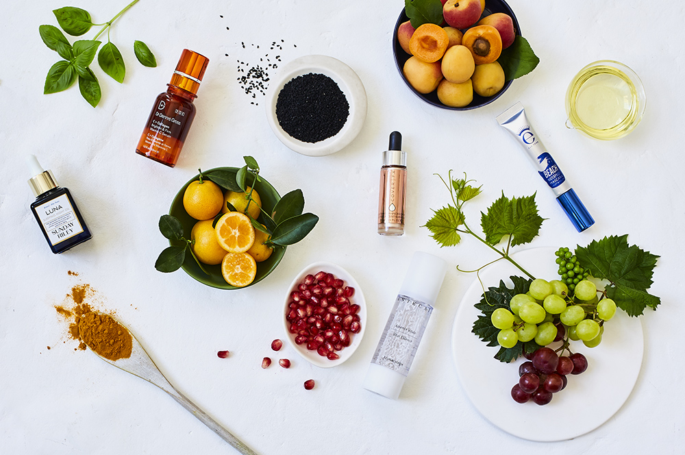 Nature and Skincare flat lay for Space NK