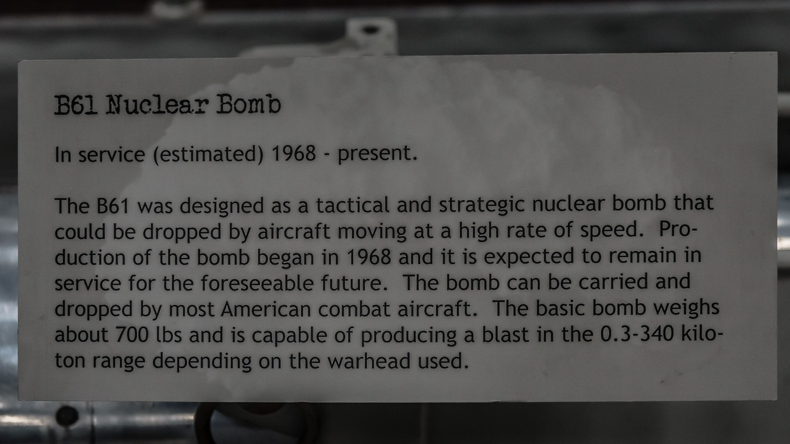 B61 Nuclear Bomb, Pima Air & Space Museum , Tucson, USA