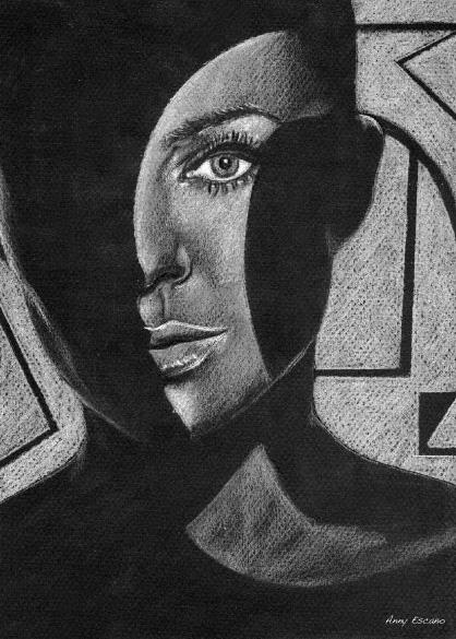 Silhouette. 2002  // colored pencil on black paper  // black & white version