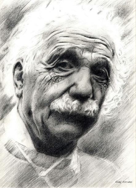 Albert Einstein. 2001 //graphite pencil drawing.