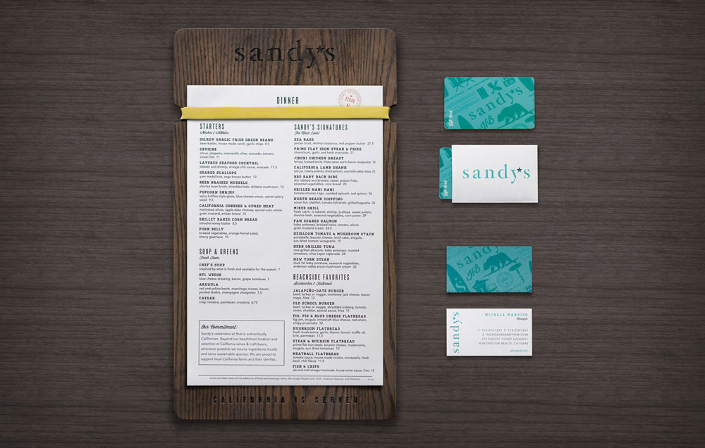Sandy's Beach Grill: Identity and Collateral