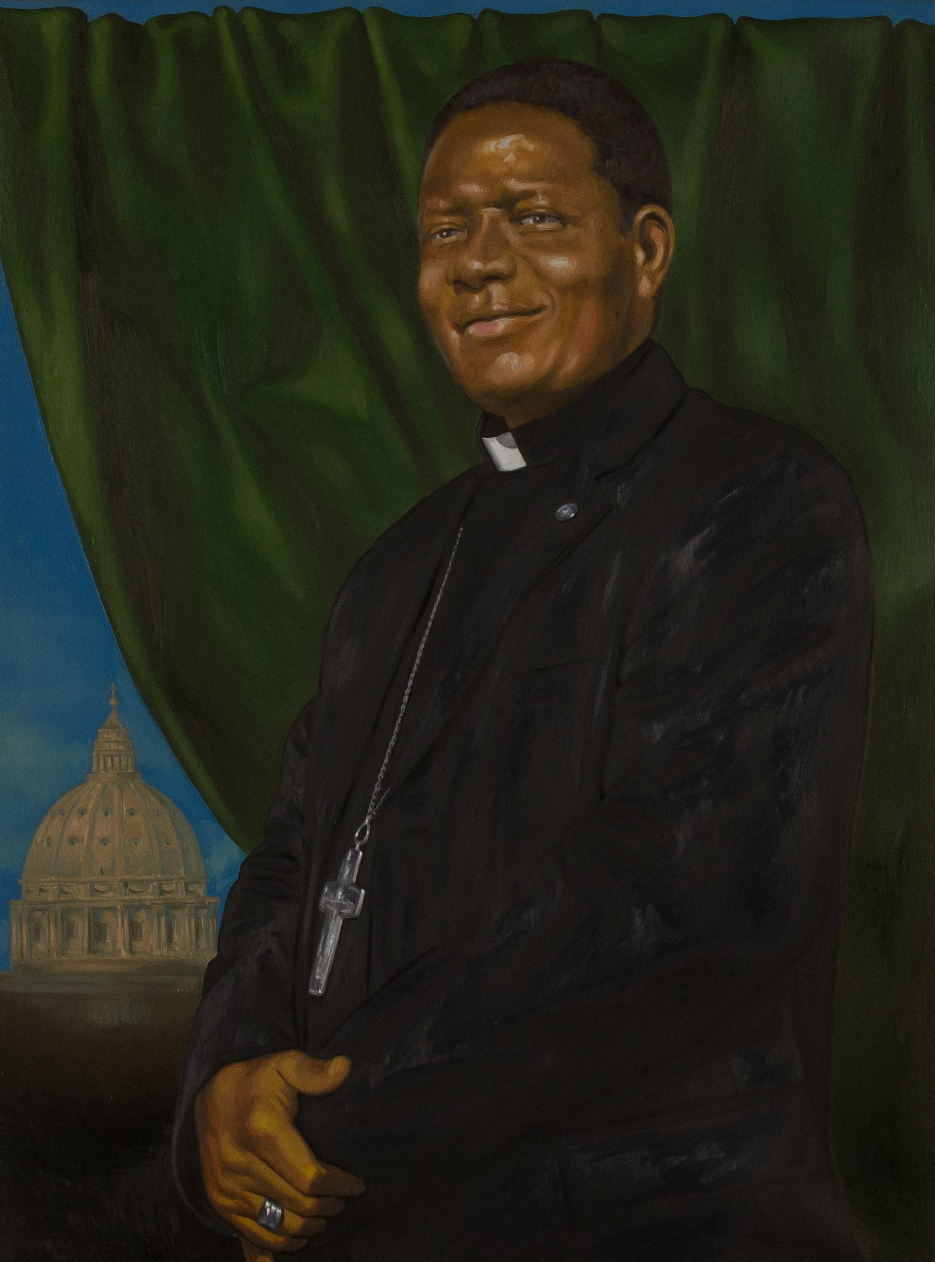 Ritratto di Mons. Godfrey I. Onah, vescovo di Nsukka - Nigeria , olio su tela, cm 80x60, 2014