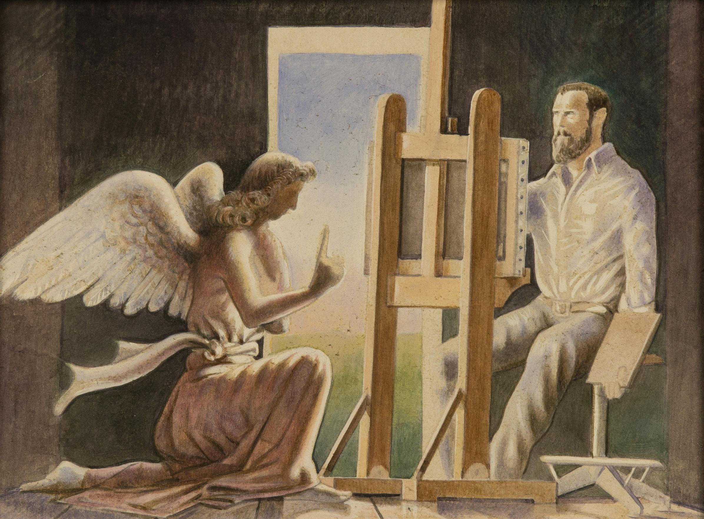 L'angelo nello studio dell'artista , acquerello su tavola, cm 18x24, 2004