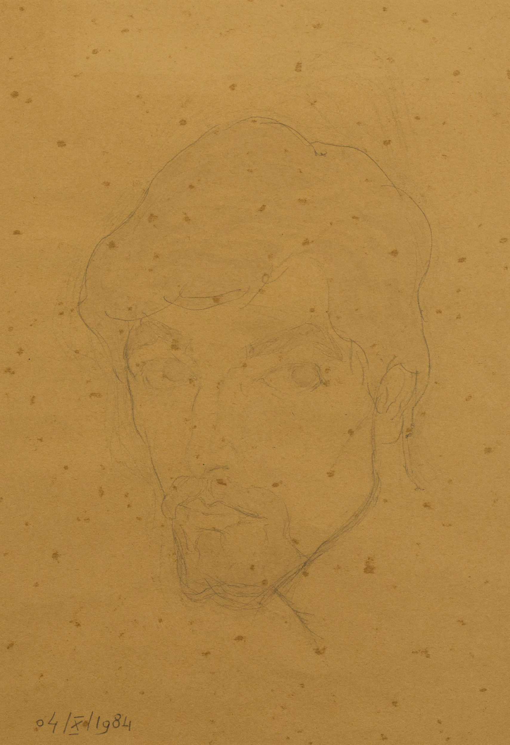 Autoritratto,  grafite e inchiostro acquerellato su carta giallina, 1984