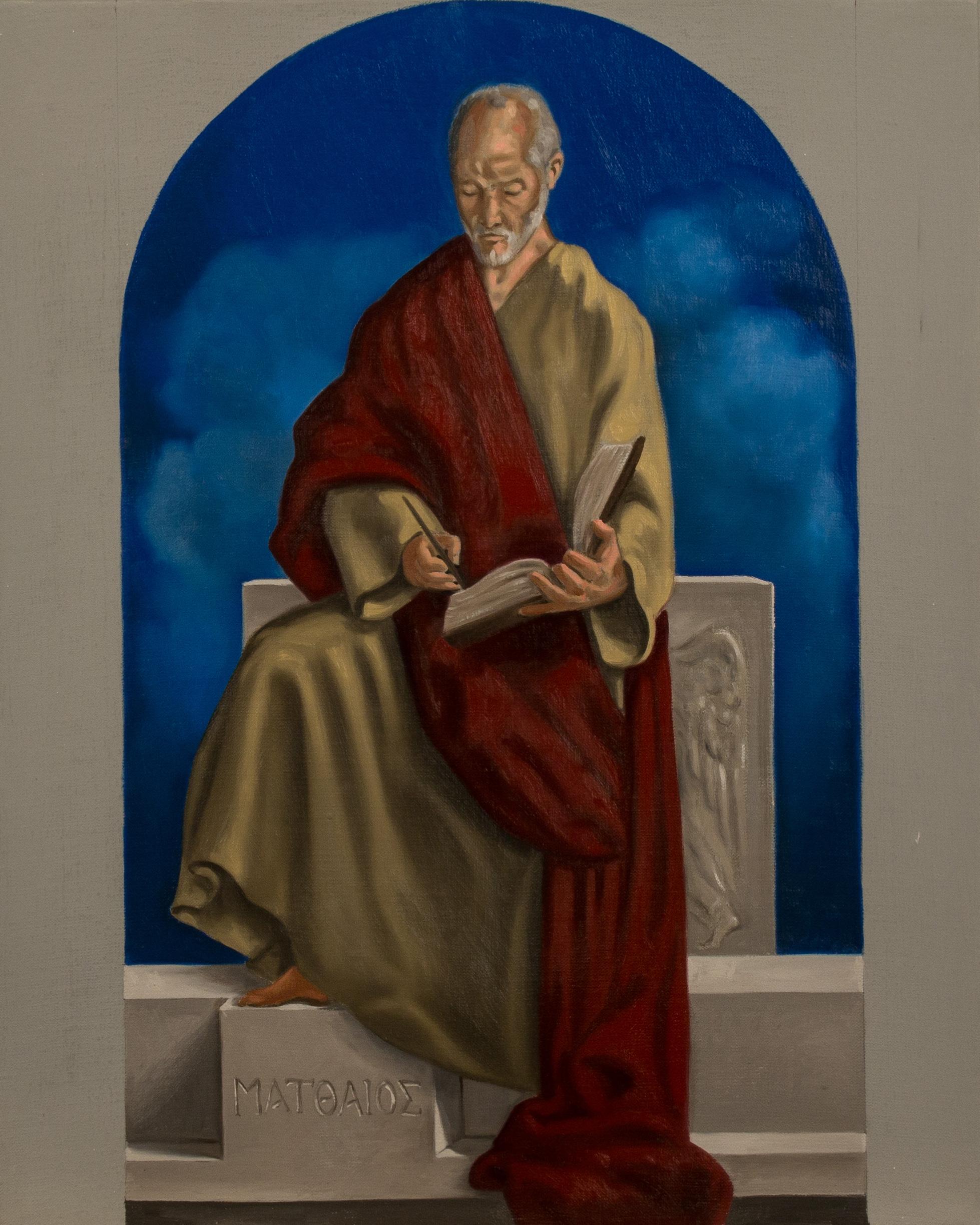 Bozzetto. San Matteo , Ciclo dei Quattro Evangelisti per l'Aula Magna della PUU, olio su tela, cm 50x40, 2014