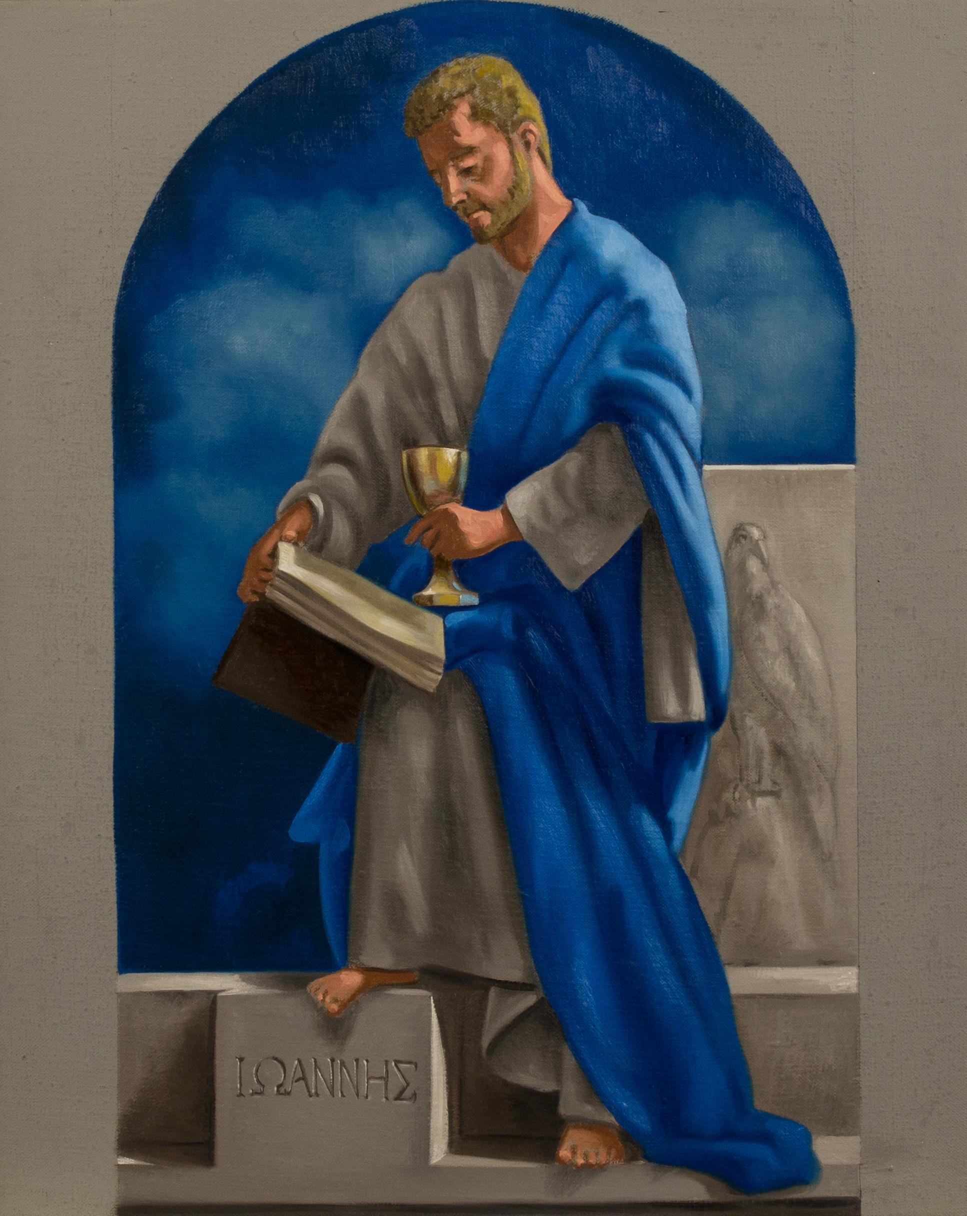 Bozzetto. San Giovanni , Ciclo dei Quattro Evangelisti per l'Aula Magna della PUU, olio su tela, cm 50x40, 2014