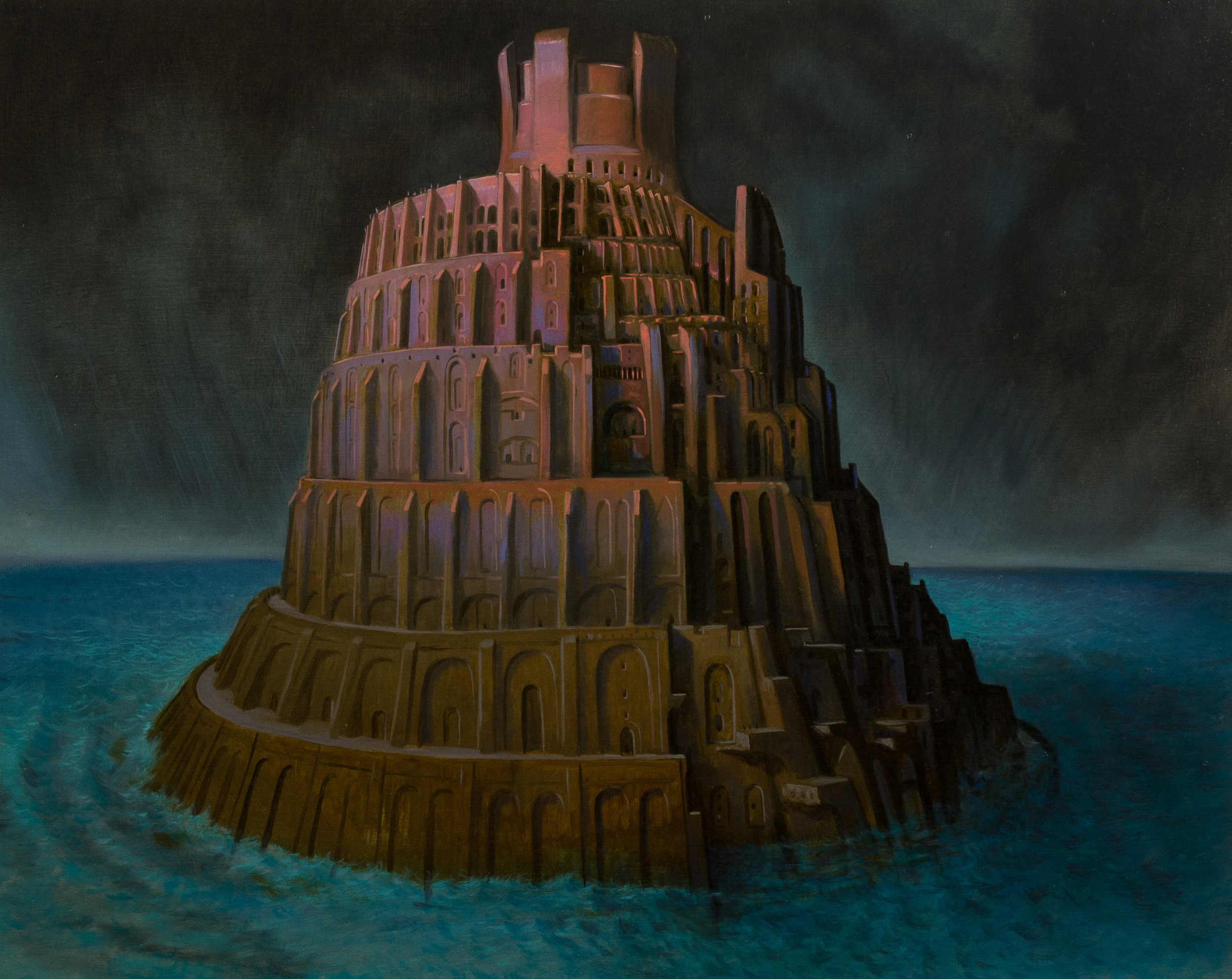 The tower of Babel ,  oil on board, cm 40x50, 2006
