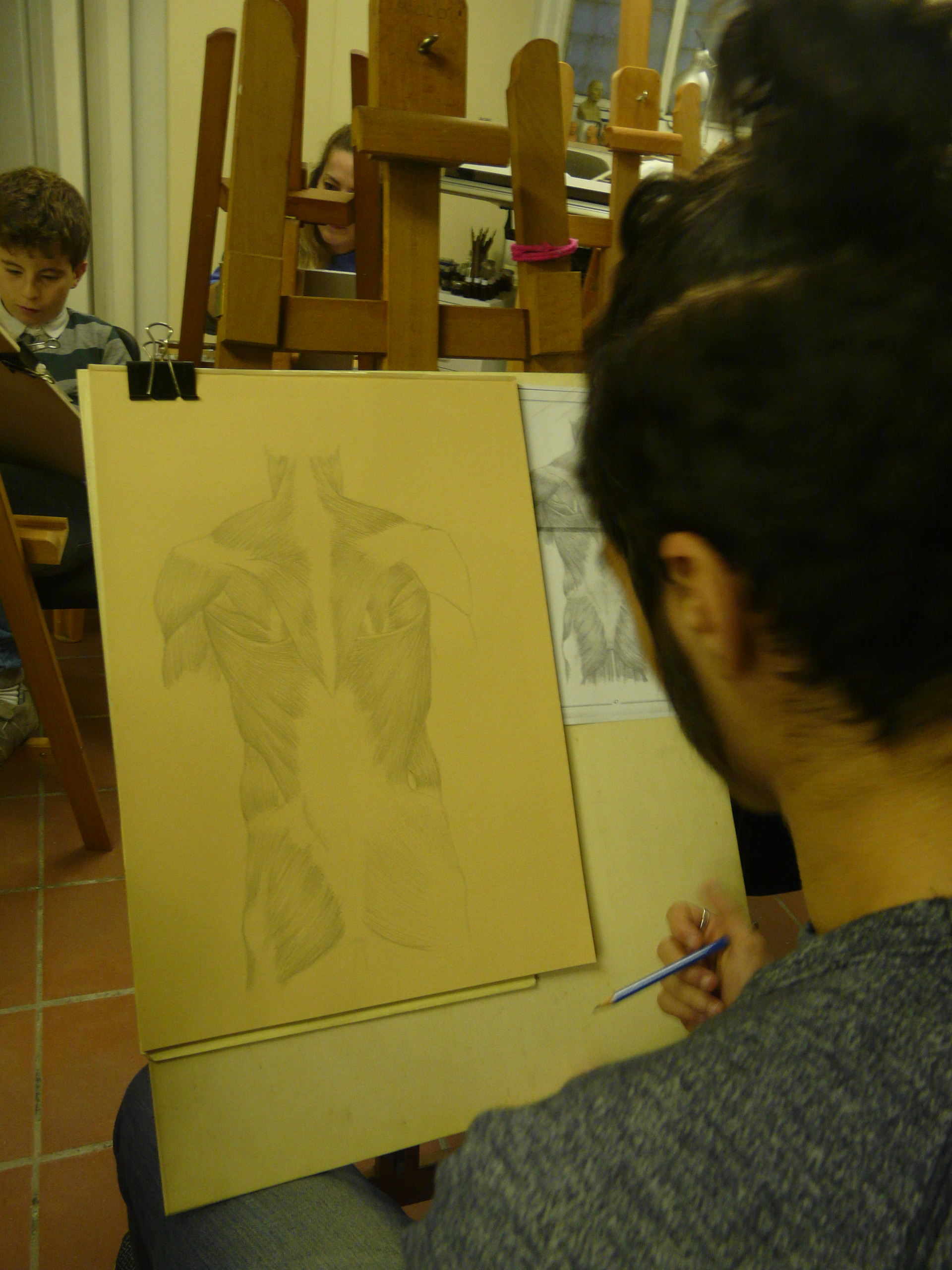 Student in the course of drawing