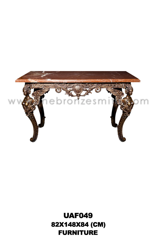 Bronze table with red marble top