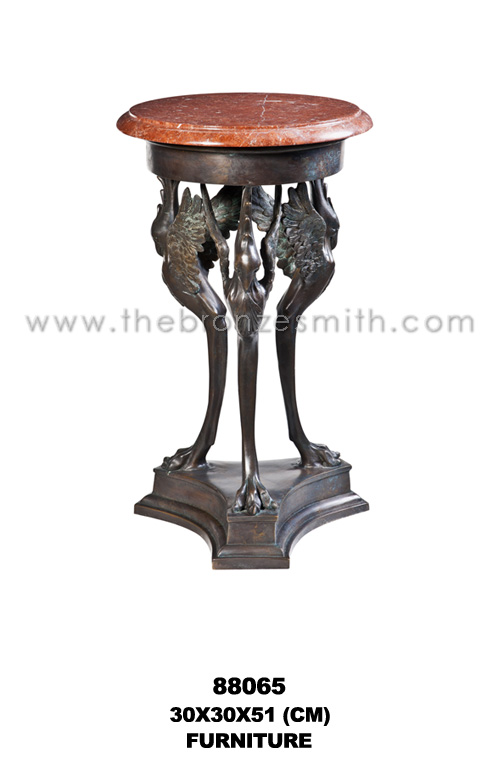 Bronze side table with red marble