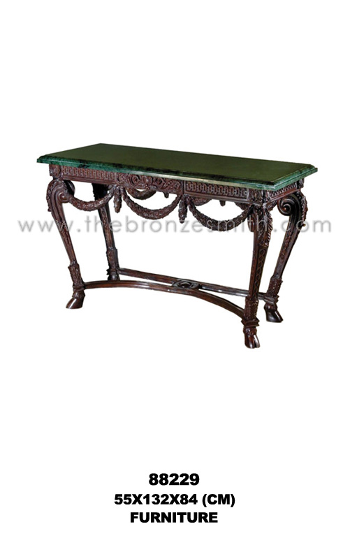 Bronze console table with green marble top