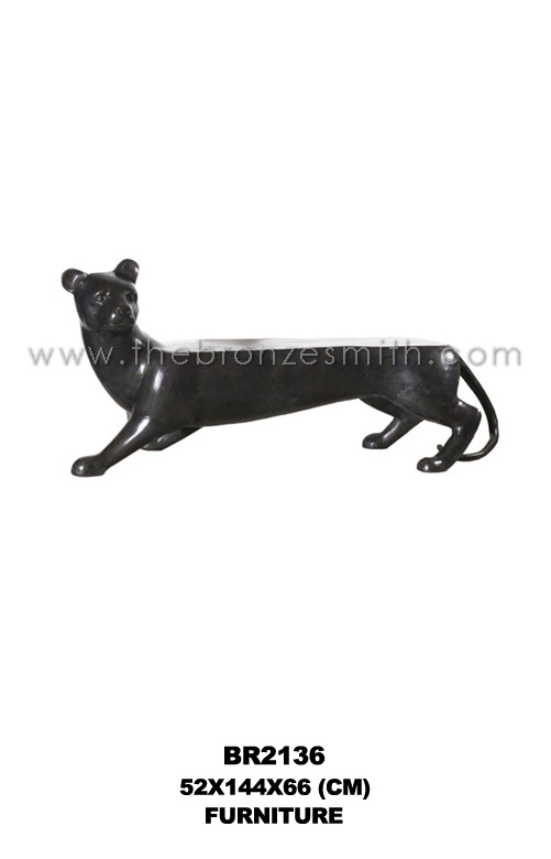 Bronze panther bench