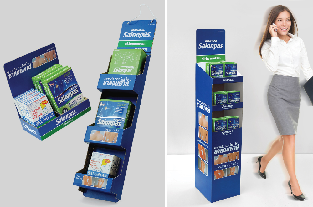 SALONPAS  A design promotional item such as display, shelf, leaflet, poster, etc for the Salonpas is brand product pain relieving from japan of sale in Thailand. The functional design is a research from size and suitability of the shop and usability of user. So have display and shelf to many category.